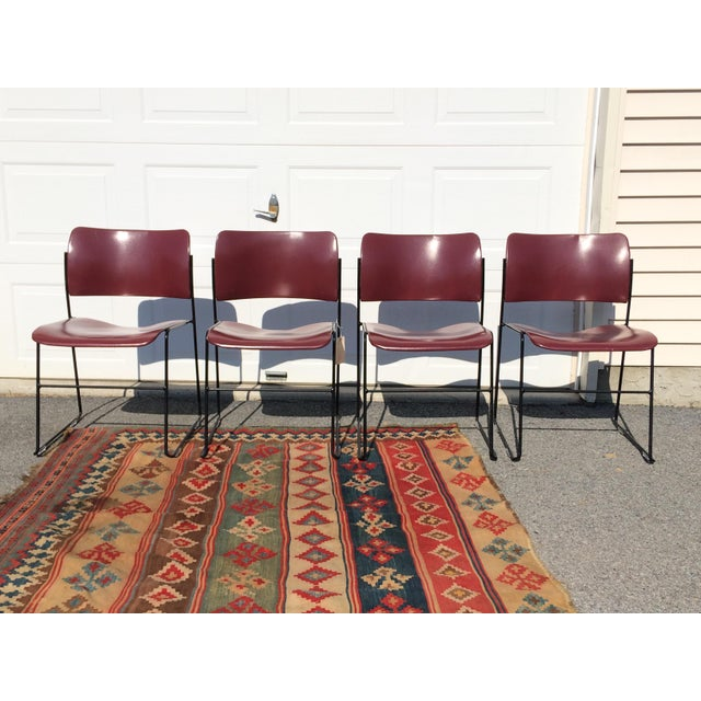This awesome set of 4 40/4 chairs designed by Industrial Designer, David Rowland in the late 1960's. These chairs have set...