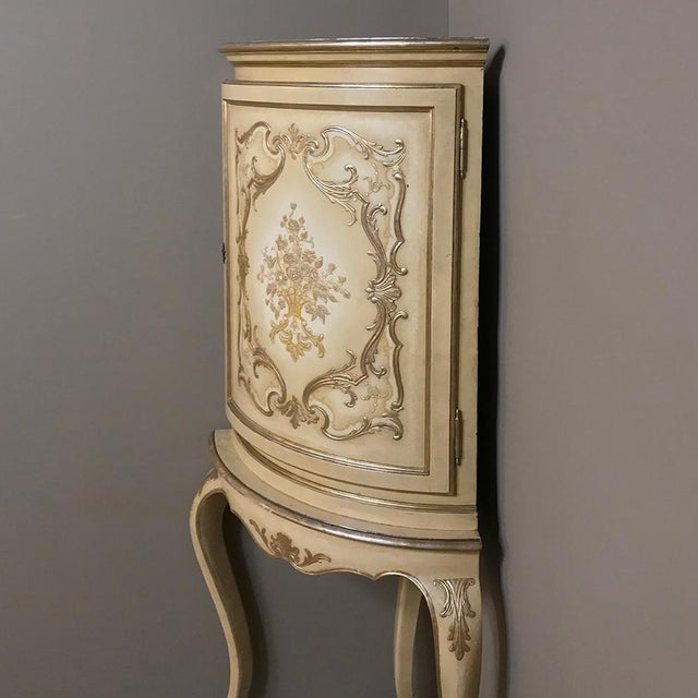 Antique Italian Baroque Painted Corner Cabinet For Sale - Image 4 of 12