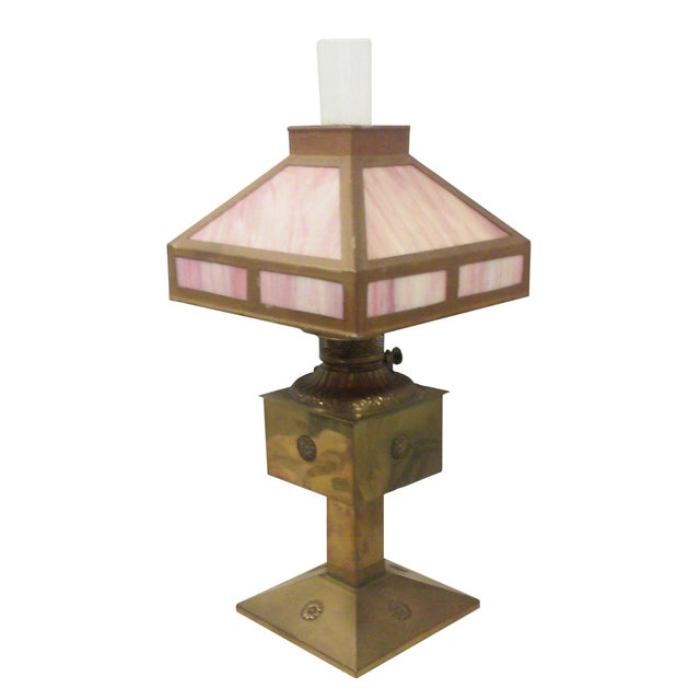 Antique Style Brass and Pink Slag Glass Lamp For Sale