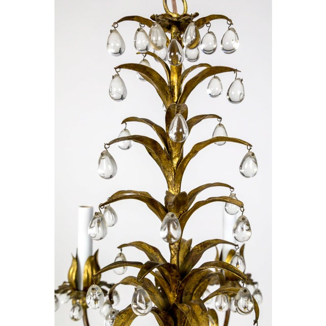 Gold Palm Beach Style Gilt Leaves and Grape Crystal Chandelier For Sale - Image 8 of 13