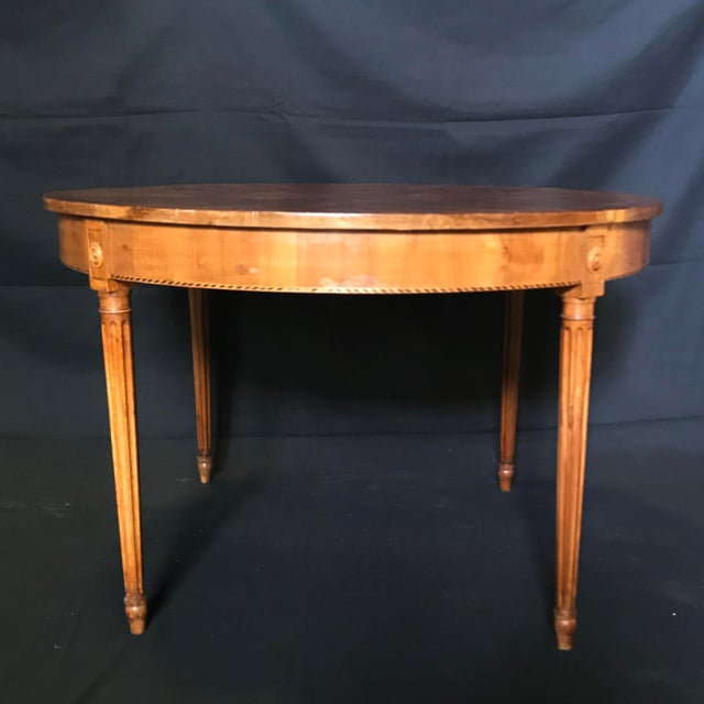 Wood Antique French Inlaid Round Marquetry Table For Sale - Image 7 of 8