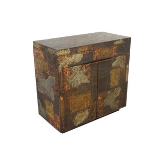 Exceptional Patchwork Flip- Top Bar Cabinet by Paul Evans For Sale