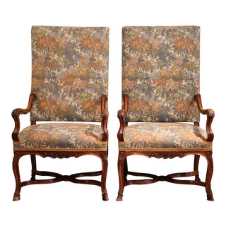 19th Century French Regency Carved Walnut Fruitwood Armchairs - a Pair For Sale