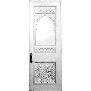 19th Century Moorish White Painted Carved Door For Sale