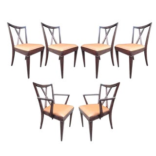 X-Back Dining Chairs by Paul Frankl, Set of Six For Sale