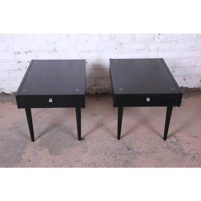 Offering an exceptional pair of mid-century modern nightstands or end tables designed by Merton Gershun for American of...