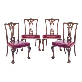 Late 19th Century Antique Gothic Chippendale Dining Chairs- Set of 4 For Sale