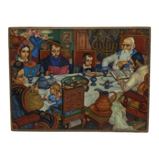 """Vintage Mounted Color Print """"Passover Meal"""" by Arthur Szyk For Sale"""