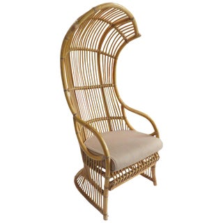 1970s Mid-Century Modern Franco Albini Bent Rattan Cobra Canopy Chair For Sale