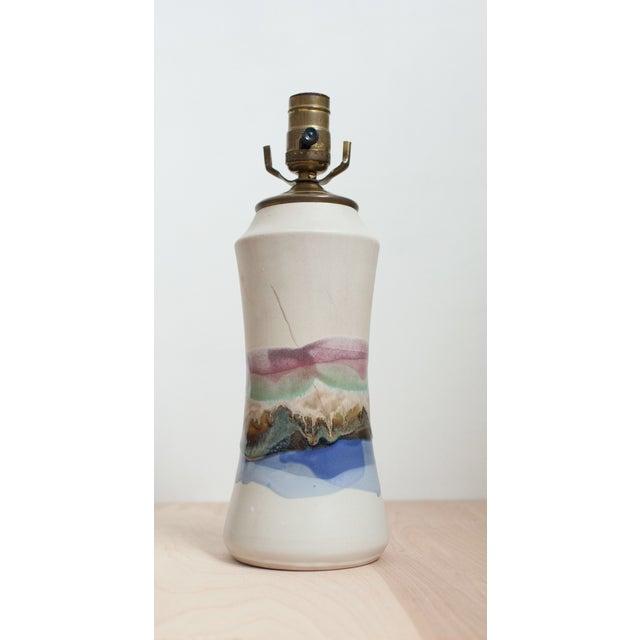 Vintage Hourglass Glaze Drip Ceramic Lamp - Image 3 of 6