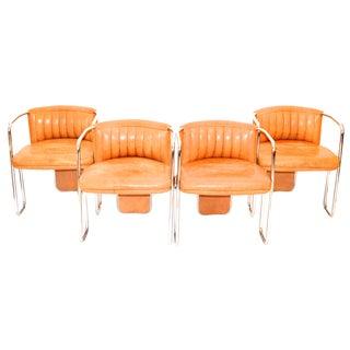 Poltrona Frau Chrome & Leather Chairs - Set of 4 For Sale