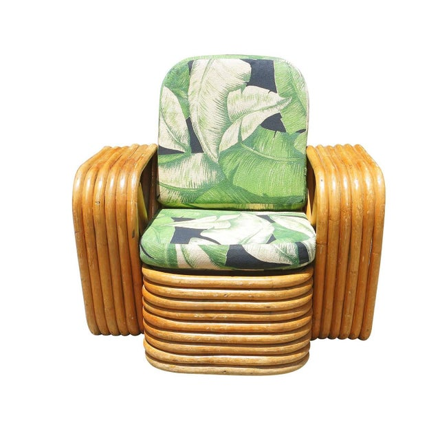 Offered is a children's size lounge chair designed by Paul Franki. This chair features six-strand square pretzel arms with...