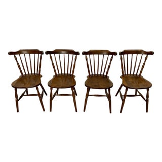 French Vintage Oak Windsor Dining Chairs - Set of 4 For Sale