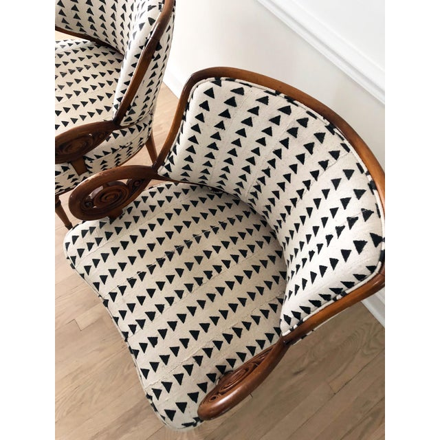 Vintage Black & White Upholstered Arm Chairs - A Pair For Sale - Image 10 of 13