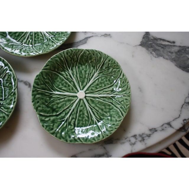 1990s Set of 4 Bordallo Pinheiro Green & White Majolica Style Cabbage Salad Plates For Sale - Image 5 of 10