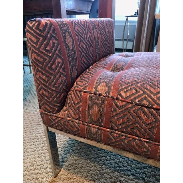 Vintage Chrome Upholstered Bench - Image 5 of 9