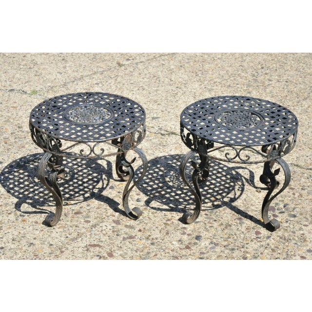 Art Nouveau French Art Nouveau Style Wrought Iron Lattice Top Round Side Tables - a Pair For Sale - Image 3 of 12