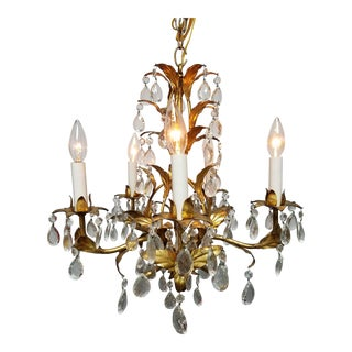 20th Century Hollywood Regency or Florentine Gold Leaf Chandelier