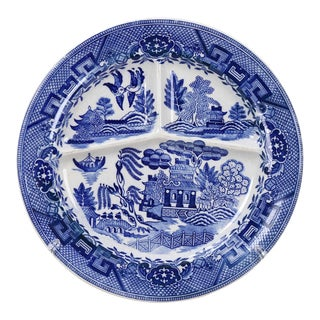 Blue & White Porcelain Plate With Sections For Sale