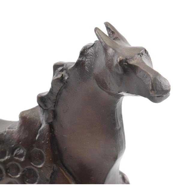 Mid 20th Century Vintage Mid-Century Bronze Abstracted Surrealist Inspired Horse Sculpture For Sale - Image 5 of 9