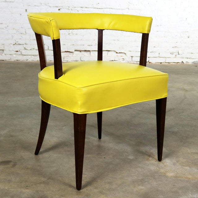 Mid Century Modern Yellow Vinyl and Oak Barrel Back Side Chair For Sale - Image 13 of 13
