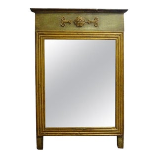 19th Century French Louis XVI Style Painted and Giltwood Mirror For Sale