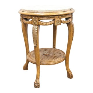 Late 20th Century French Cane Shelf Marble Top Table For Sale