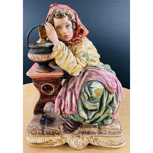 1960's Vintage Italian Porcelain Pensive Farmer Girl Sculpture or Statue For Sale - Image 12 of 12