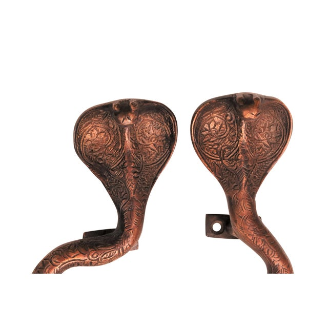 Asian Large Dark Brass Cobra Door Handles - A Pair For Sale - Image 3 of 6