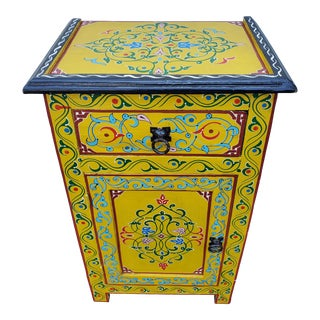 Moroccan Hand Painted Yellow Wooden Nightstand For Sale