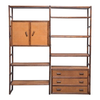 Large French Mid-Century Rattan and Caned Wall Unit For Sale