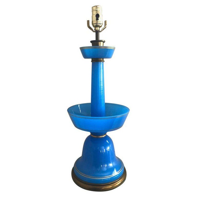 French Blue Opaline Glass Table Lamp For Sale - Image 9 of 9