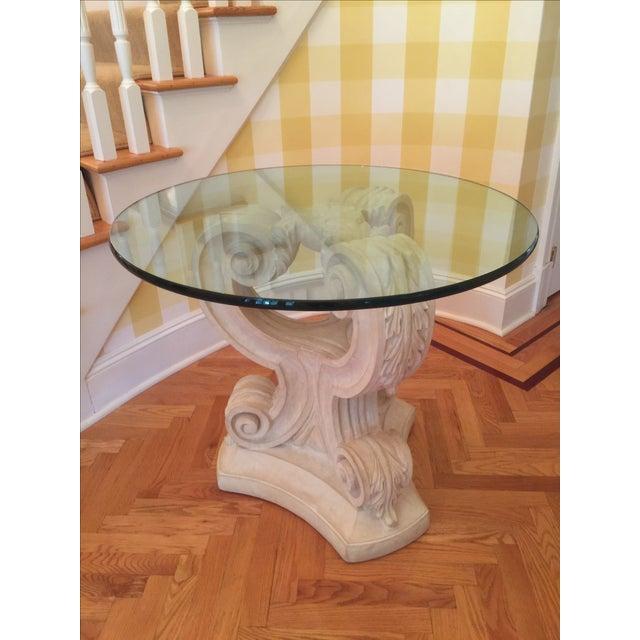 Acanthus Leaf Pedestal Table Base, 2 Glass Tops - Image 2 of 4