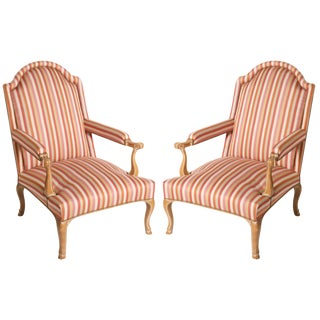 Louis XV Style Upholstered Beech Wood Chairs C. 1950 - a Pair For Sale