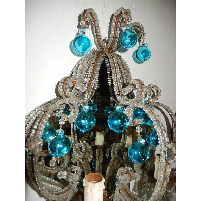 French French Micro Beaded Mirror Aqua Blue Murano Drops Sconces For Sale - Image 3 of 10
