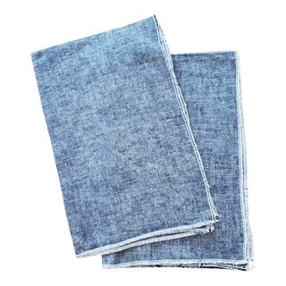 Blue Linen Tea Dish Kitchen Towels - a Pair For Sale