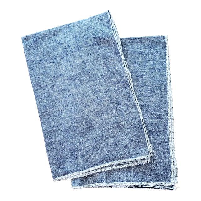 Blue Linen Tea Dish Kitchen Towels - a Pair For Sale