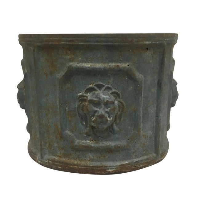 Cast Iron Lions Head Planter For Sale