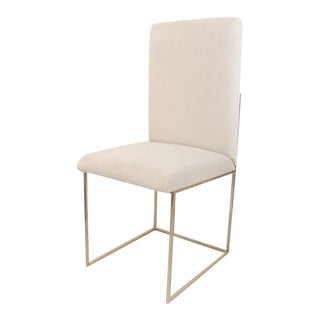 Celine Cream Suede Dining Chair With Silver Metal Frame For Sale