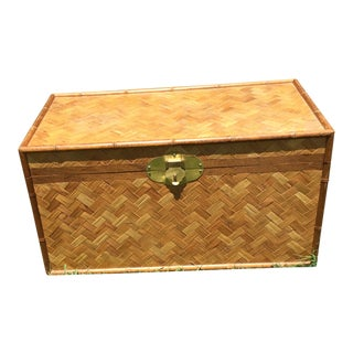 Vintage Bamboo Woven Rattan Trunk For Sale