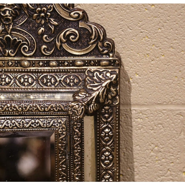 19th Century French Napoleon III Repousse Brass Wall Mirror With Inside Brushes For Sale In Dallas - Image 6 of 8
