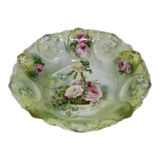 Antique RS Prussia Hand Painted Basket of Roses Bowl For Sale