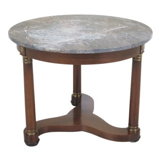 Baker Round Marble Top French Empire Center Table For Sale