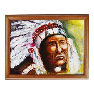 Framed Oil on Board Signed Painting Portrait of Native American Indian Chief For Sale