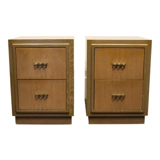Modern Brutalist 1950's Nightstands in the Manner of Paul Frankl, With Brass Knuckle Style Pulls-A Pair For Sale
