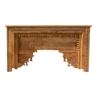 Rustic Floral Hand Carved Console Table For Sale