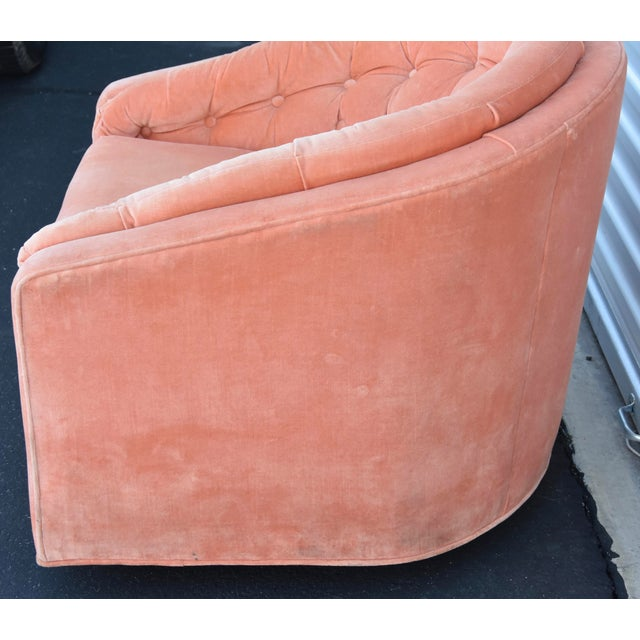 Metal Mid-Century Hollywood Milo Baughman Style Tuft Swivel Club Barrel Chair For Sale - Image 7 of 8