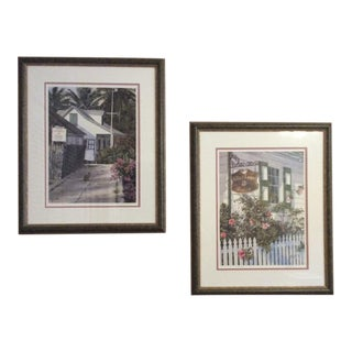 Phil Capen Watercolors of Bahama Island Scenes, Double Matted, Signed-a Pair For Sale