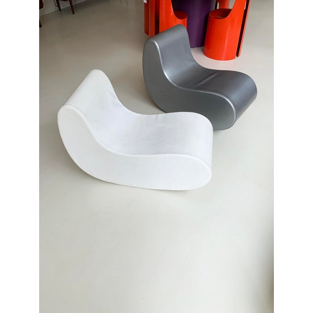 Mid-Century Modern 1960s Italian Rocking Boomerang Chairs - a Pair For Sale - Image 3 of 12