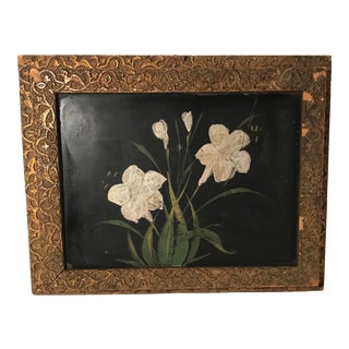 Antique Victorian Gold Frame Hand Painted Letter Box For Sale